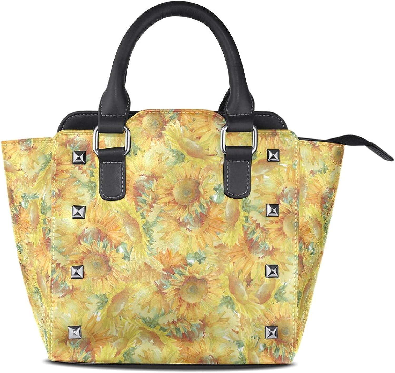 Sunlome Sunflowers Watercolor Print Handbags Women's PU Leather Top-Handle Shoulder Bags