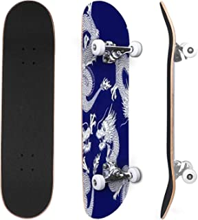 Classic Concave Skateboard Watercolor Dinosaurs Hand Drawn Illustration Pattern Canadian Maple Trick Skateboards for Begin...