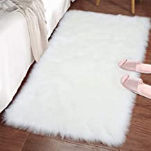 LOCHAS Stylish Ultra Soft Silky Fluffy Shag Faux Sheepskin Area Rug, Bedside Rugs for Bedroom Living Room Carpet Nursery F...