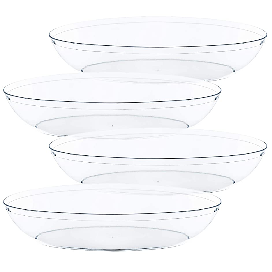 Plasticpro Disposable Oval Serving Bowls, Party Snack or Salad Bowl, 32-Ounce, Plastic Crystal Clear Pack of 8