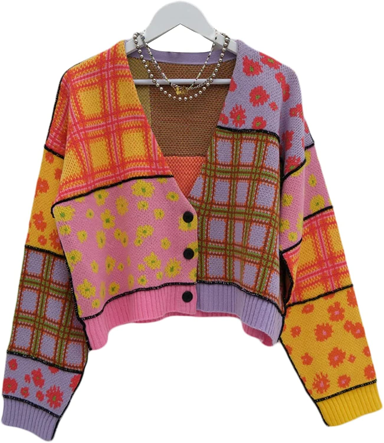 Women's V Neck Cropped Cardigan Long Sleeve Floral Print Button Down Knit Casual Y2K Sweater Coat
