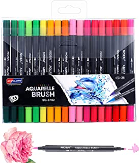SKYGLORY 36 Colors Dual Tips Brush Art Marker Pens Set Fine Round & Brush Tip Water Soluble for Children Adults Artist Dra...