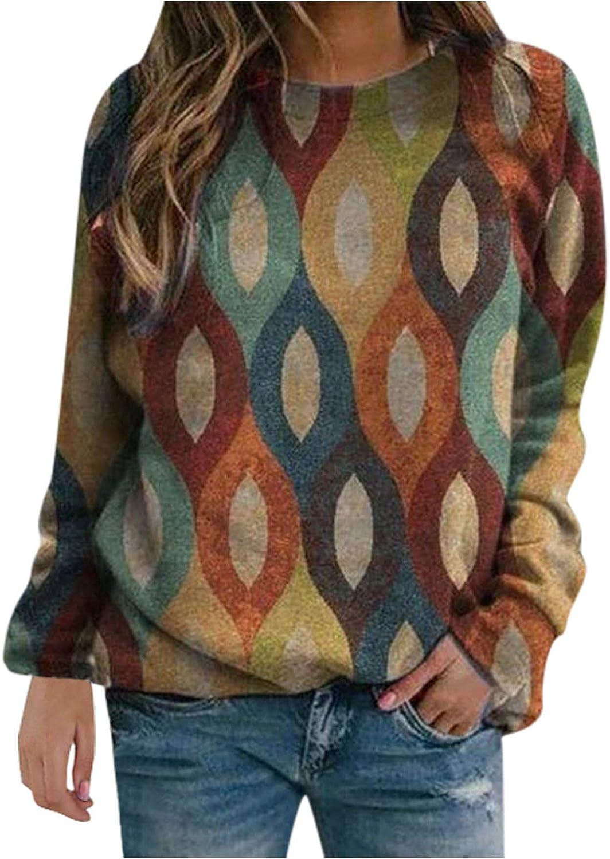 Long Sleeve Shirts for Women,Women Long Sleeve Sweatshirts Crewneck Vintage Tie Dye Printed Plus Size Autumn Pullover