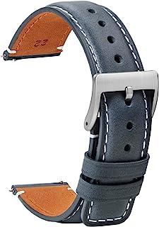 TStrap Montre Bracelets Cuir 20mm - Remplacement Bracelets de Montre Dégagement Rapide Noir Doux Sport pour Hommes Dames -...