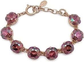 Catherine Popesco 12mm Brandy Swarovski Crystal Cushion Cut Goldtone Bracelet Adjustable