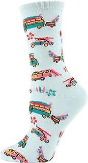 MeMoi Surfs Up 60s Volkswagen Crew Socks | Women's Fun Novelty Socks