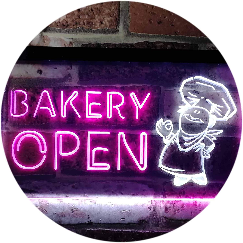 ADVPRO Bakery Open Shop Bread Display Dual Farbe LED Barlicht Neonlicht Lichtwerbung Neon Sign Weiß & lila 400mm x 300mm st6s43-i0175-wp