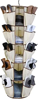 Smart Design 5-Tier Smart Carousel Organizer w/ 40 Pockets & Steel Metal Hook - 360 Degree Swivel - Heavy Duty Fabric - Clothing, Shoes, Misc. Item - Home Organization (13 x 51.8 Inch) [Beige]