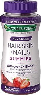 Nature's Bounty Optimal Solutions Advanced Hair, Skin, Nails, 2X Biotin, 80 Strawberry Gummies