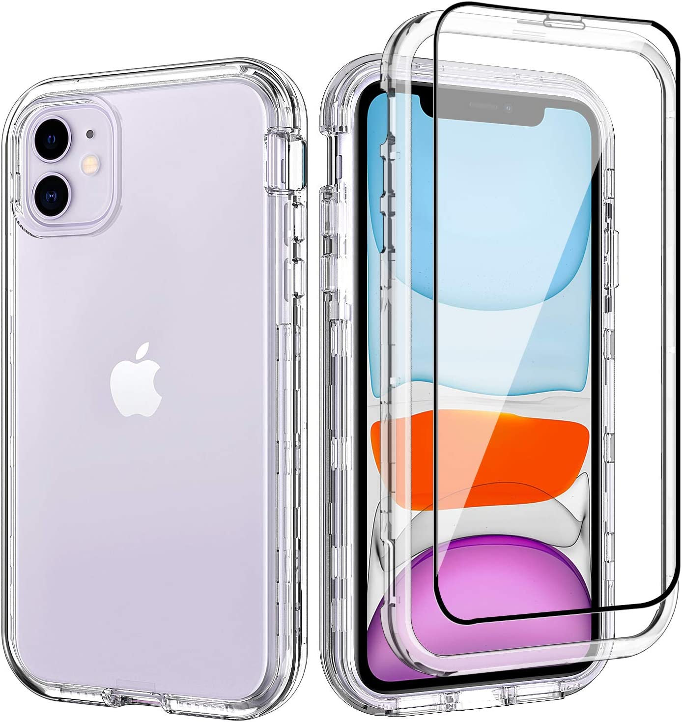 ACKETBOX iPhone 11 Case with Screen Protector 3in1 Hybrid Impact Defender Shockproof Armor Resistant Clear PC Back Case and Bumper+TPU Full Body Cover for iPhone 11 6.1 Inch(Clear)