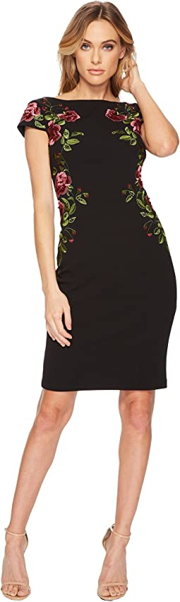 Adrianna Papell - Cap Sleeve Embroidered Crepe Cocktail Dress