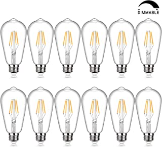 LED Edison Bulb Dimmable, 4W Vintage LED Filament Light Bulbs, Warm White 2200K SHINE HAI ST64 Antique Style LED Bulb 40W Equivalent, E26 Medium Base, Pack of 12