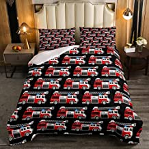 Queen Bed Sheet Sets,Fire Truck Comforter Set Vehicle Emergency Aid Down for Kids Boys Girls Teens Firefighter Lorry Quilt...