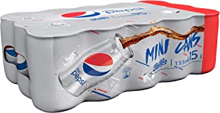 Diet Pepsi Carbonated Soft Drink, Mini Cans, 155 ml x 15