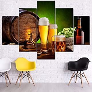 Wall Pictures for Living Room Beer in Brewery Paintings Alcohol Beverage Artwork 5 Panel Prints Wall Art on Canvas Modern House Decor Wooden Framed Ready to Hang Posters and Prints(60''Wx40''H)