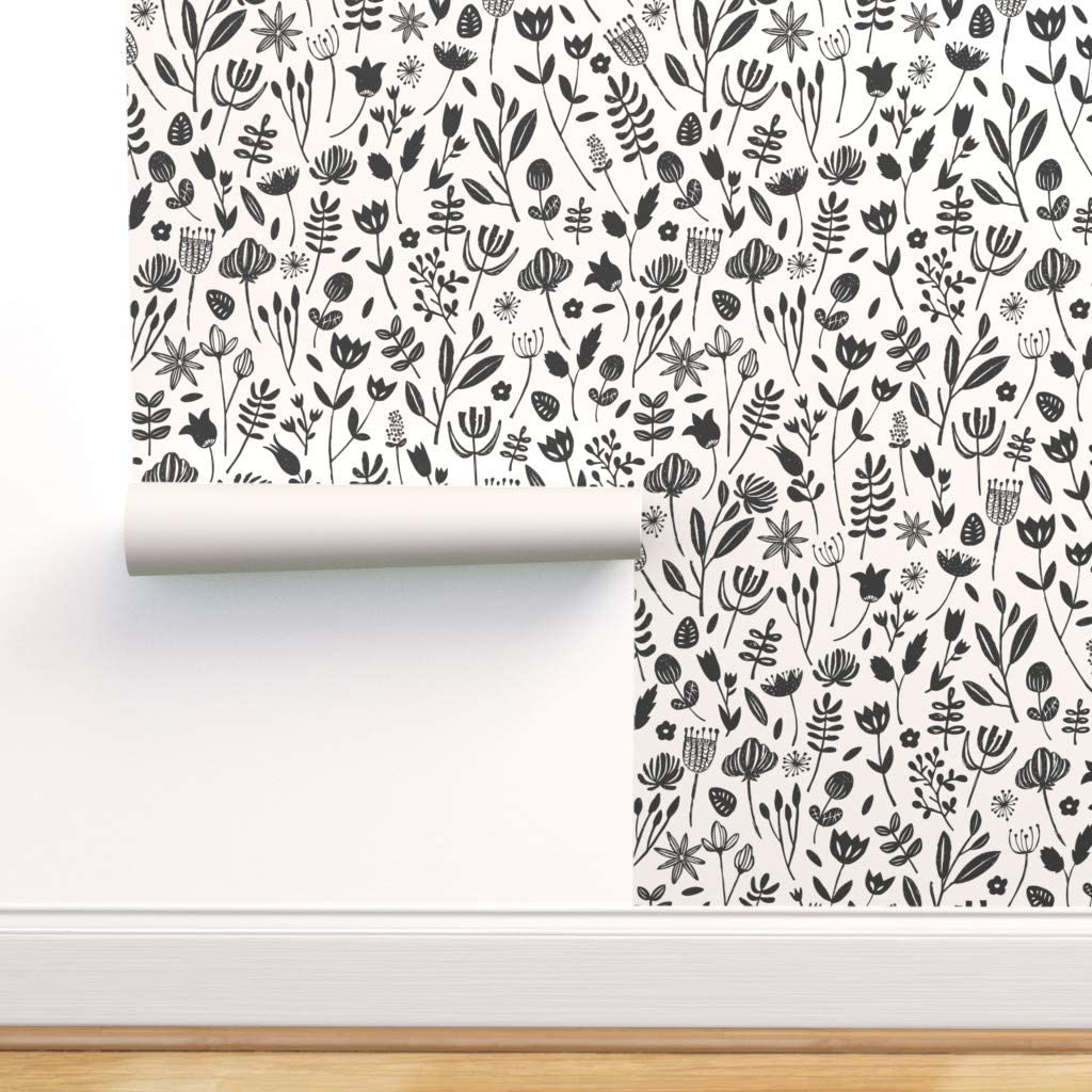 Removable Water-Activated Max 89% OFF Wallpaper - Modern Floral Ivory Challenge the lowest price of Japan Black
