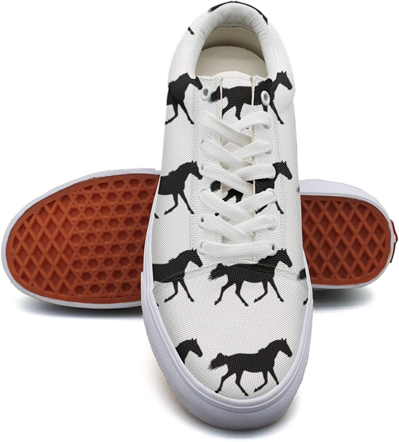 Black Horse Silhouette Women's Casual shoes Sneakers Boat Cool Low Top Comfortable