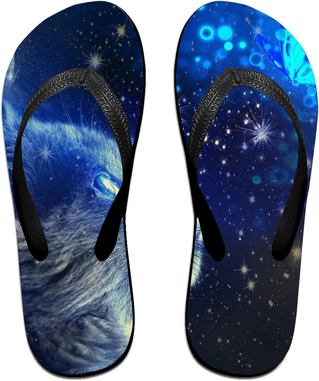 Cosmic Nebula Cat & Butterfly Flip-Flop Sandals for Summer Beach, Slippers for Men Women