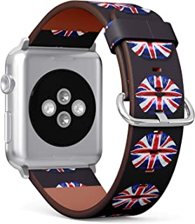 (Lips Textured by Flag of Great Britan Union Jack) Patterned Leather Wristband Strap for Apple Watch Series 4/3/2/1 gen,Re...