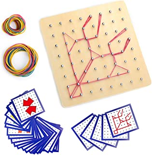 Montessori Wooden Geoboard Mathematical Manipulative Material Array Block Geo board with 24Pcs Pattern Cards and Rubber Bands Matrix 8x8 for Kids Graphical Educational Toys Early Development Toy