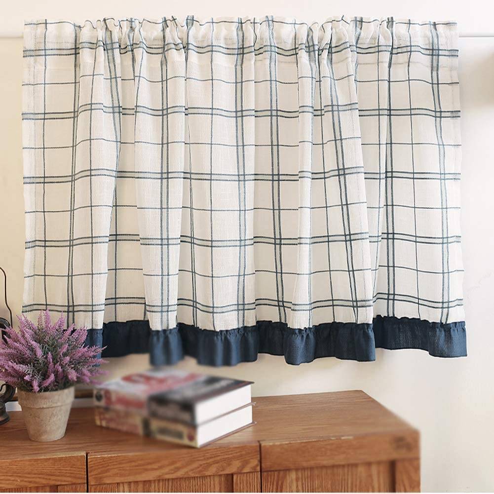 Cotton Tier Sales results No. 1 Curtains Cafe Half Curtain Blue-White Window Ranking TOP6 Buffa
