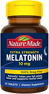 Nature Made Extra Strength Melatonin 10 mg Tablets, Sleep Aid Supplement 30 Count