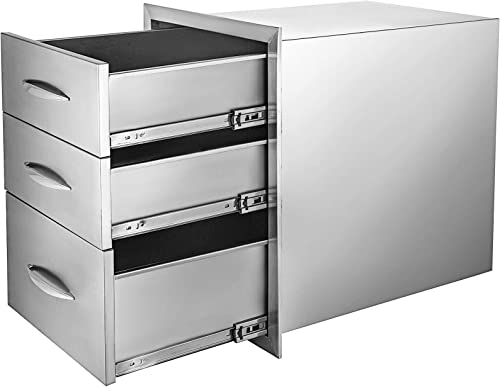Mophorn 18x23 Inch Outdoor Kitchen Stainless Steel Triple Access BBQ Drawers with Chrome Handle, 18 x23 x 23 Inch