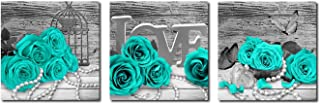 Rtriel Turquoise Rose Canvas Wall Art Teal Blue Green Flowers Prints Black and White Floral Pictures for Bathroom Bedroom Home Decor 12 x 12 Inches 3 Pieces