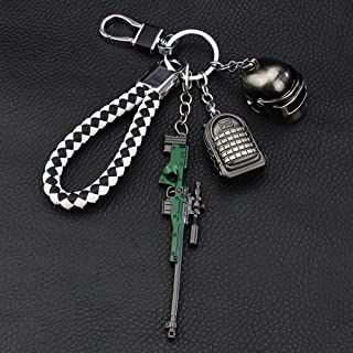 Bonaweite PUBG AWM Level 3 Backpack Helmet Models Key Chain Alloy Exquisite Accessories Souvenir Gifts for Fans Children PLAYERUNKNOWN'S BATTLEGROUNDS