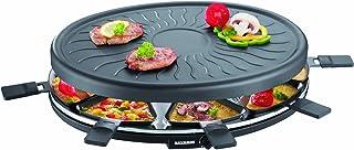 SEVERIN Raclette Gril Ronde 1 100W, Plaque Anti-adhésive, Surface de 815 cm², Thermostat réglable, Inclus 8 Poêlons, Noir,...