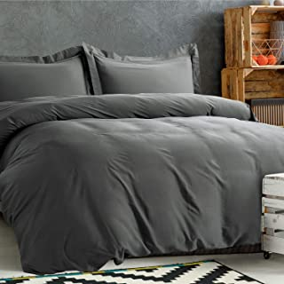 Bedsure 100% Bamboo Duvet Cover Set Full/Queen Size - Silky and Soft Touch Comforter Cover - 3 Pieces Set (1 Duvet Cover+2 Pillow Shams) with Corner Ties, Button Closure