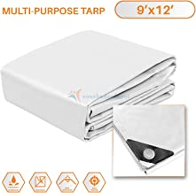 TANG Sunshades Depot 9 x 12 Feet Heavy Duty 10 Mil White Cover Tent Shelter Camping Tarpaulin Multi Purpose Waterproof Poly Tarp Cover Reinforced Rip-Stop with Grommets