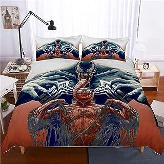 Bedding Duvet Cover Sets-3D Venom Superhero 3 Pieces Bedding Sets 1 Duvet Cover 2 Pillow Shams, Best Gifts for Teen Boys,D,2PCS 172CMX218CM