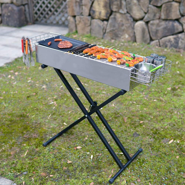 ILUVBBQ Tragbare faltende verdickte 304 Edelstahlgrill-Grillkohleofen im Freienkohleofen Grill im Freien Edelstahl