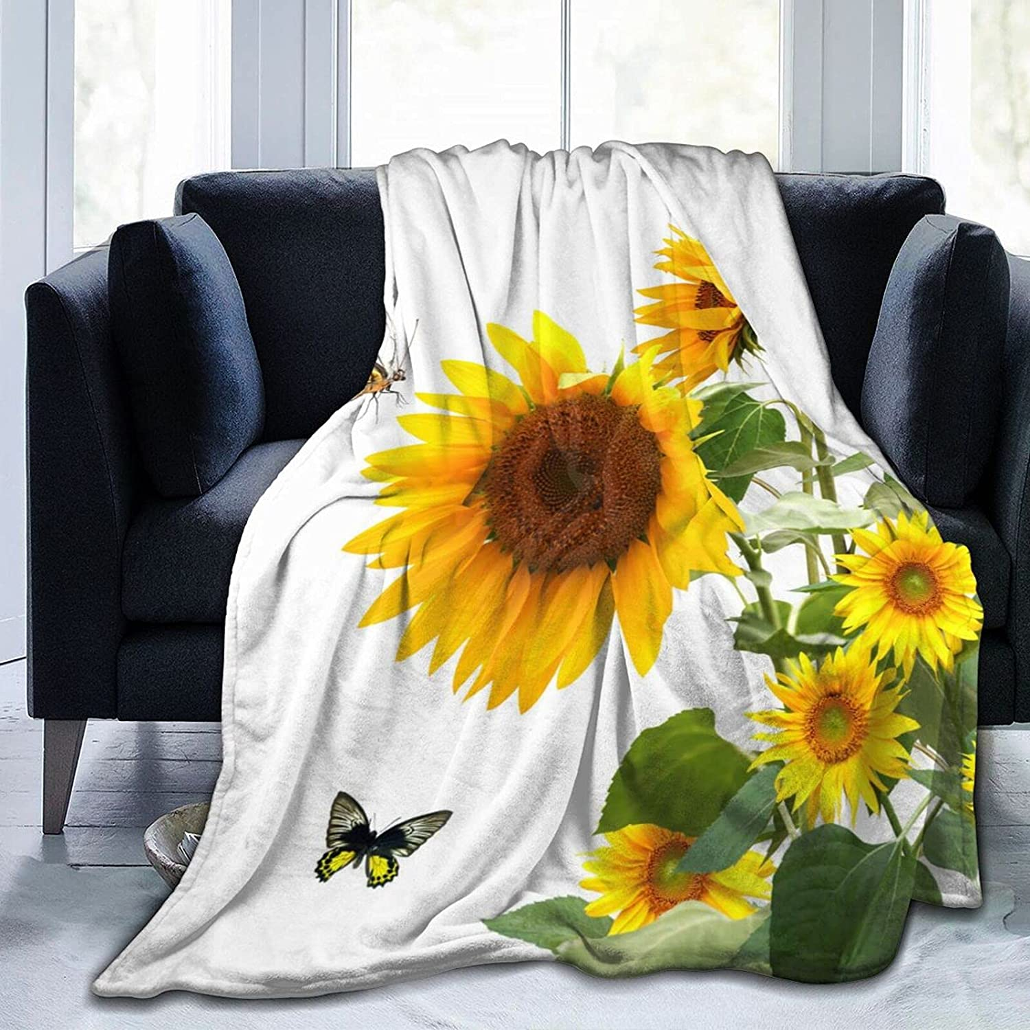 Flower Butterfly Yellow Attention brand Floral Green Throw Now free shipping Leaves Soft Blanket T