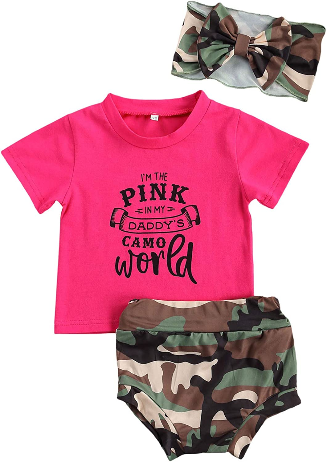 Fepege Baby Girls Letter Printed Short Sleeve T Shirt Camouflage Shorts Headband Outfits