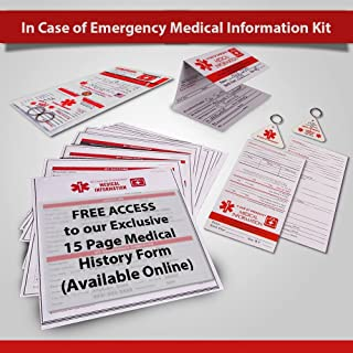 In Case of Emergency Contact Cards with Medical Alert, Two Premium Tri-Fold Wallet Cards, Two Key Fobs, I.C.E. ID Emergency Contacts, Allergies, Medical Information, Doctors. Plus printable forms!