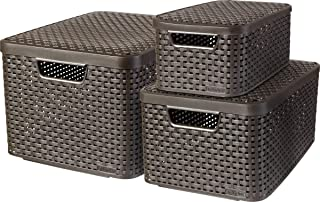 CURVER Lot de 3 Boîtes avec Couvercle - 3 Caisses (6L+18L+30L) en Plastique avec un Design Rotin Tressé pour Salle de Bai...