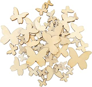 WINOMO 50pcs Mixed Size Wooden Butterfly Cutouts Craft Embellishment Gift Tag Wood Ornament for DIY