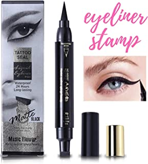 Waterproof Wing Eyeliner Stamp - Elisabeh Dual Ended Winged Liquid Eyeliner Stamp Pen, Smudgeproof,long-lasting, No Dripping,Black