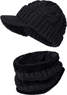 Women Beanie Hat Scarf Set Winter Warm Thick Newsboy Cable Knit Caps with Brim