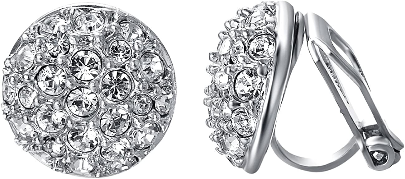 VOGEM Bling Clip On Earrings For Women Platinum Plated Half Ball Round Clear CZ Cluster Wedding Prom Earings