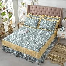 Ruffle Mattress Cover,All Cotton Bed Skirt Bedspread Non-Slip Mattress Protective Case Bed Sheet Not Fade Cartoon Pattern ...