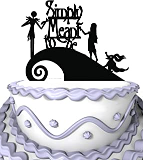 Meijiafei Wedding Cake Topper - Jack and Sally Simply Meant To Be for Anniversary Cake Decoration Party Favors