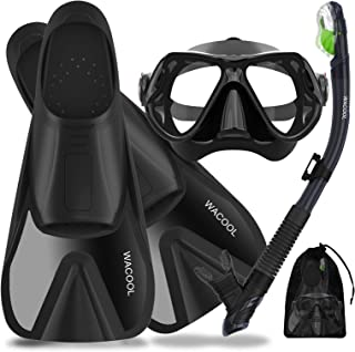 WACOOL Snorkeling Package Set for Adults, Anti-Fog Coated Glass Diving Mask, Snorkel with Silicon Mouth Piece,Purge Valve ...