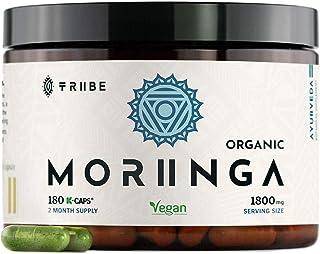 Organic Moringa Oleifera 180 Vegan Capsules - 100% Pure Leaf Powder NO Additives - 600mg Capsule - 1800mg Serving - Green ...