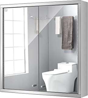 24 Inch Medicine Cabinet with Mirror, Bathroom Wall Cabinet, Wall Mount Storage Cabinet with Double Mirror Doors, Polished Stainless Steel Chrome Finish, Mute Hinge