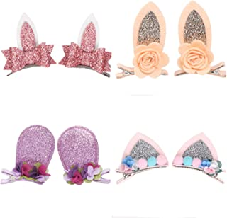 OneDor Sparkle Shiny Hair Bow Ribbon Clip sets for Babies, Toddlers, Young Girls, and Children (Animal - 4 Set)