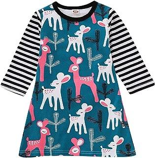 KONFA Toddler Baby Girl Cartoon Deer Cactus Dress,for 0-4 Years,Little Princess Long Striped Sleeve Skirt Fall Winter Clothes