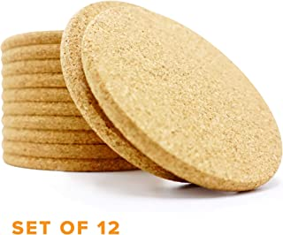 Kitchables Set of 12 Absorbent Cork (Circle) Best Coaster for Drinks in Office, Home, or Cottage, 1,